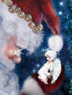 Santa with a tiny angel.