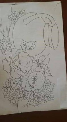 Painting Templates, Tole Painting Patterns, Fruit Painting, Fabric Painting, Floral Embroidery Patterns, Flower Patterns, Flower Line Drawings, Art Drawings, Flower Coloring Pages