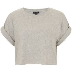TOPSHOP Roll Back Crop Tee ($20) ❤ liked on Polyvore featuring tops, t-shirts, shirts, crop tops, grey marl, grey t shirt, grey tee, crop shirts, crop top and cotton t shirt