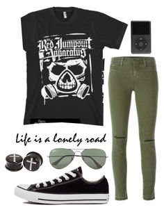 """""""The Red Jumpsuit Apparatus"""" by ticci-toby ❤ liked on Polyvore featuring J Brand, Converse and Ray-Ban"""