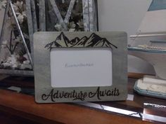 Adventure Awaits Mountains  Rustic Engraved 4 x 6 Picture Photo Frame Gray Wash