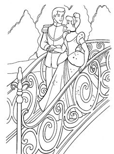 Cinderella and Prince Walk On The Bridge Coloring Pages Cinderella Coloring Pages, Disney Princess Coloring Pages, Disney Princess Colors, Disney Colors, Cartoon Coloring Pages, Coloring Book Pages, Christmas Coloring Pages, Princesas Disney, Christmas Colors
