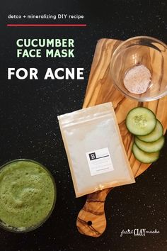 mask diy Cucumber + Pink Salt + Bentonite Clay Face Mask to combat Acne. Super detox and mineralize DIY face mask recipe. The cucumber hydrates while the pink salt remineralizes and the clay detoxes. The power mask. Cucumber For Skin, Cucumber Face Mask, Diy Mask, Diy Face Mask, Face Masks, Argile Bentonite, Bentonite Clay Face Mask, Dry Skin On Face, Clay Faces