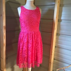 """Super cute hot pink lace & orange dress, large UP by Ultra Pink brand. Hot pink lace over orange dress. Lined. Side zipper under arm as shown in picture. Stretch. Super cute and slightly above knee. I am 5' 7"""" -ish for reference. UP by Ultra Pink Dresses"""