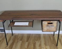 Whimsical Reclaimed Wood Desk Office Desk shown with (optional) Wood Crate Drawer and Keyboard Tray Wood Desk Wood, Diy Office, Wood Desk, Reclaimed Wood Desk, Eclectic Desks, Wood Crates, Wood Planks, Reclaimed Wood, Wood Furniture