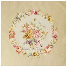 1 sofa 4 chairs Wool and Silk Hand Woven Aubusson Upholstery Tapestry Stool /Sofa  beige Cream pink roses Decorative Home