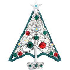 Crystal Christmas Tree Cutout Pin Brooch