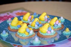 Peep nests on a chewy sugar cookie