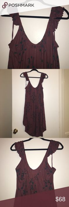 Free People Maroon Dress NWT Free People purple dress with designs & ruffle details .. 100% viscose.. has slits towards the bottom of the dress. Can wear as a dress or with shorts, or as a cover up Free People Dresses Midi