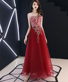 Description Burgundy lace tulle long prom dress, burgundy tulle evening dress , pictures of this product are pictures of the real object. Cheap Prom Dresses Online, Prom Dresses Under 100, Unique Prom Dresses, Beautiful Prom Dresses, Prom Dresses Blue, Formal Dresses, Ellie Saab, High Low Evening Dresses, Designer Evening Dresses