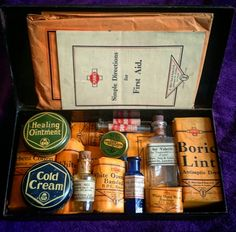 A travel first aid kit by s maw and sons dating from 1920-30 with all original contents