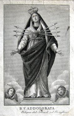 B.V. AddolorataAn engraving of the statue of Our Lady of Sorrows in Bologna, Italy.