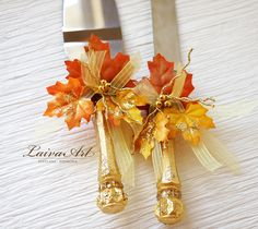 Personalized Fall Leaves Thanksgiving Wedding Cake Server Set & Knife Gold Fall Wedding Cake Cutter - pinned by pin4etsy.com