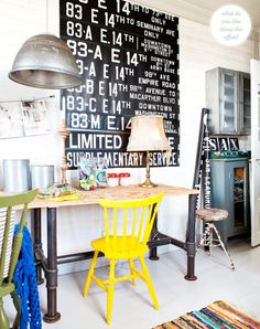 Colorful rustic home office (Photography by Carina Olander.)