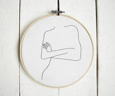 Contemporary bedroom decor One line drawing Embroidery hoop