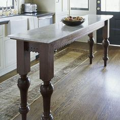 Narrow island or table for small kitchen or dining room- legs & lace  fretwork for island table