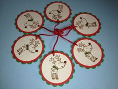 Rudolph, Gift Tags, Paper Goods, Scrapbooking, Gift Wrap, Party Favors, Treat Bags, Ornament, Package Topper, Holidays, Christmas, Reindeer via Etsy