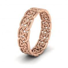 Open Celtic Patterned 9ct Rose Gold 6mm Wedding Ring