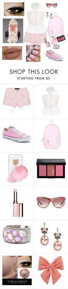 """""""Pink"""" by morganalindsay ❤ liked on Polyvore featuring Alexander Wang, Delpozo, Converse, Herschel, Ashlyn'd, Bobbi Brown Cosmetics, Clarins, Gucci, Effy Jewelry and Decree"""
