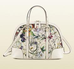 Gucci Nice Flora Leather Top Handle Bag