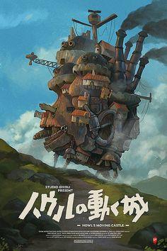 Studio Ghibli Poster, Studio Ghibli Art, Studio Ghibli Movies, Howl's Moving Castle, Japon Illustration, Fantasy Illustration, Poster Anime, Anime Cover Photo, Photocollage