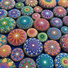 Mandala stone collection by Elspeth McLean #rockart #paintedstones #elspethmclean #dotillism #mandala