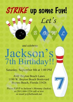 Bowling Party Birthday Invitation  DIY Printable by jcbabycakes, $12.00