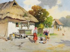 NEOGRÁDY ANTAL (1861-1942) Water Well, Old Photos, Landscape Paintings, Drawings, Lego, Touch, City, Paisajes, Facades