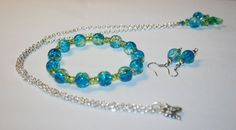 Necklace Bracelet and Earring Set  Aqua and Green by TKDShop, $32.99