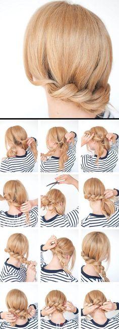 Paso a paso cabello recogido Casual Hairstyles, Fringe Hairstyles, Quick Hairstyles, Elegant Hairstyles, Straight Hairstyles, Short Hair Cuts, Short Hair Styles, Wedding Curls, Bride Headband