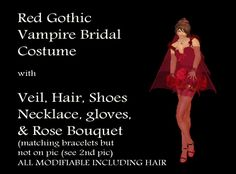 Red Gothic Vampire Bride Bridal Outfit, w/ hair, bouquet, shoes