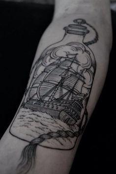 Boat in bottle - Sailor Inked ink tatouage tattoo