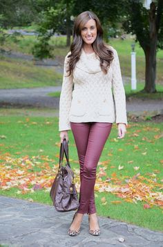 Wine colored jeans, soft sweater