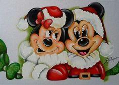 Pintura em Tecido de Ana Paula Campos  Mickey e Minie Natal  Christmas