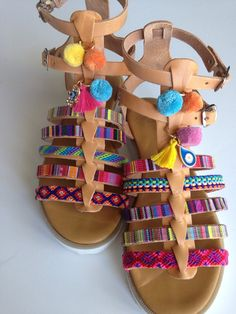 Gladiator ethnic leather sandals by Ilgattohandmade on Etsy