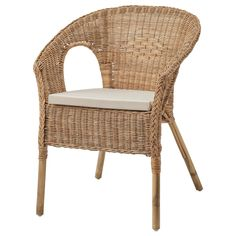 IKEA - AGEN, Armchair with cushion, rattan, Norna natural, The furniture is hand-woven and therefore unique. Rattan is a natural material which ages beautifully and develops its own unique character over time. saves space when not in use. Ikea Wicker Chair, Ikea Dining Chair, Wicker Armchair, Rattan Furniture, Living Furniture, Handmade Furniture, Furniture Making, Wicker Dining Chairs, Room Chairs