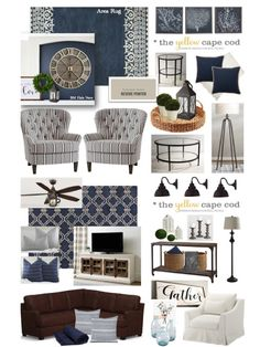 Living Room Yellow Cape Cod - Two Room Navy Blue Coastal Inspired Design Plan (The Yellow Cape Cod). Navy Blue And Grey Living Room, Navy Blue Decor, Blue Living Room Decor, Blue Home Decor, Coastal Living Rooms, Living Room Grey, Home Living Room, Navy Blue Rooms, Estilo Navy