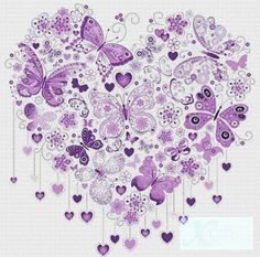 Gorgeous, wish my hands would allow me to cross stitch. X Squared Cross Stitch Purple Butterfly Heart PDF Cross Stitch Pattern