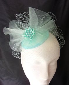 Pale Aqua Aquamarine Blue Vintage Style Blusher Veil Crinoline Bow & Pearl Percher Fascinator Hat - Wedding - Ready Made