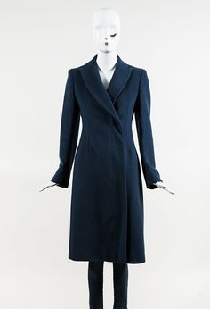 Sportmax Blue Wool Collared Double Breasted Long Coat