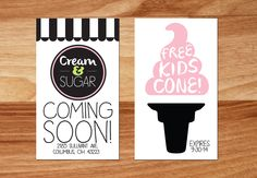 I created this business card ad for a new ice cream shop in town. The card was redeemable for one free kids cone.