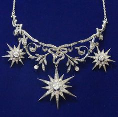 Necklace Collection : Spectacular Antique Diamond Necklace with Three Detachable Star Brooches/Pend
