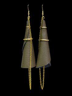 #Leather #earrings, modern shoulder dusters, khaki genuine leather