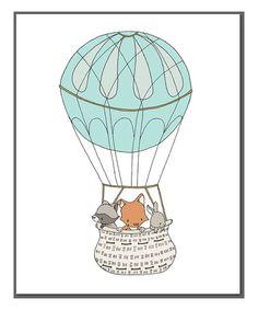 Love this Woodland Friends Hot Air Balloon Print on #zulily! #zulilyfinds
