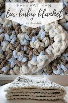 Beautiful & Easy Single Stitch Crochet Baby Blanket {Free Pattern} - - A simple crochet blanket pattern perfect for beginners, using Bernat Baby Blanket or size 6 super bulk yarn and hook. Crochet Afghans, Crochet Baby Blanket Free Pattern, Bernat Baby Blanket, Easy Baby Blanket, Crochet For Beginners Blanket, Blanket Yarn, Knitted Baby Blankets, Afghan Crochet Patterns, Chunky Blanket