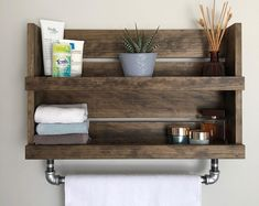 Bathroom Shelf With Towel Bar, White Distressed Wood Shelf With Galvanized Pipe Towel Bar, Wall Mounted Storage, Fixer Upper Rustic Shelves Rustic Bathroom Shelves, Rustic Shelves, Wood Shelf, Industrial Bathroom, Bathroom Sets, Bathroom Wall, Modern Bathroom, Bathroom Storage, Modern Wall