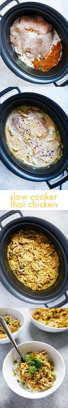 Slow Cooker Thai Curry Chicken! Easy, delicious, Whole30 sub in the notes.