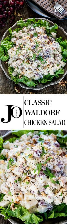 Waldorf Chicken Salad - a classic salad that will surely hit the spot, packed with chicken, apples, pears and grapes and a creamy and delicious dressing. (Chicken And Apple Recipes) Waldorf Salat, Waldorf Chicken Salad, Classic Salad, Jo Cooks, Clean Eating, Healthy Eating, Cooking Recipes, Healthy Recipes, Apple Recipes