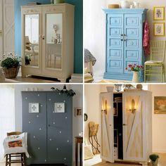 обновить старый деревянный шкаф и превратить его в образец европейской старины - несложно, 4 легких мастер-класса по декору дверей шкафа и 18 дополнительных идей