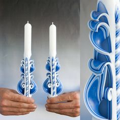 Taper candles  Candle set  Blue candles by primacandle on Etsy, $20.00